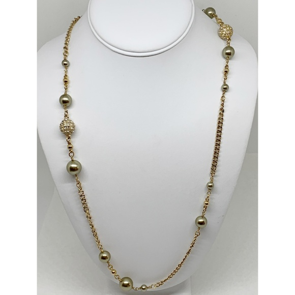 J. Crew Jewelry - J. Crew Pearl & Rhinestone Gold Chain Necklace